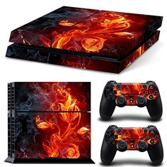 Morbuy Skin Consola Design Foils Vinyl Pegatina Sticker And 2 Playstation 4 Dualshock Controlador Skins Set (Rojo Fuego Flor) Ps4 Console, Playstation 4 Console, Playstation Games, Xbox One Games, Ps4 Games, Games Consoles, Play Stations, Sony Ps4, Mmorpg Games