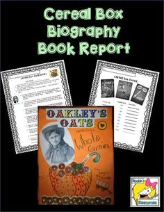 Book Report- Cereal Box Biography by Rockin Resources Narrative Writing, Informational Writing, Persuasive Writing, Informative Writing, Biography Project, Biography Books, Teacher Education, Teacher Resources, Teaching Ideas