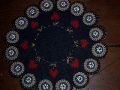 Beautiful...Handmade Wool Felt Penny Rug Candle by MirandasRoom, $28.00