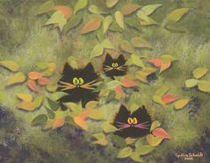 Scaredy Cats in Leaves