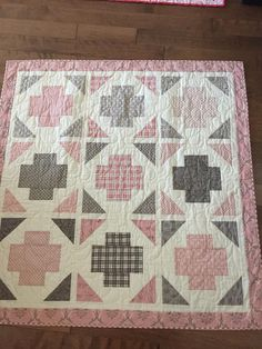 Pink and gray baby quilt Adorable Pink and Gray Baby Quilt