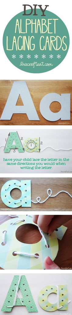 help your child learn to write at home...or anywhere! make these diy alphabet lacing cards using a cereal box, paper, and string. not only will they learn to identify the shape of the letter, but they can learn the correct way in which to write it. | www.livecrafteat.com