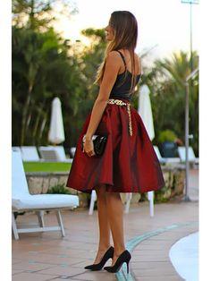 Red Midi Skater Skirt | Choies       #blackfriday  #sale
