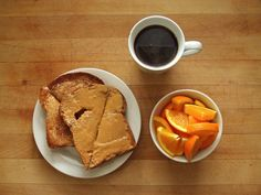 whole wheat toast with earth balance and peanut butter, navel orange, and coffee