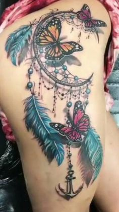 Trendy Tattoo Ideas Thigh Tat Dream Catchers 47 Ideas - Tattoo - Tattoo Designs For Women Dream Tattoos, Badass Tattoos, Sexy Tattoos, Body Art Tattoos, Sleeve Tattoos, Tattoo Sleeves, Atrapasueños Tattoo, Tigh Tattoo, Butterfly Thigh Tattoo