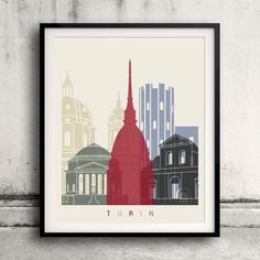 Turin skyline poster  Fine Art Print Glicee Poster by Paulrommer