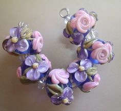 BLISS Pink Roses and Blossoms on Blue Lampwork Bead Set