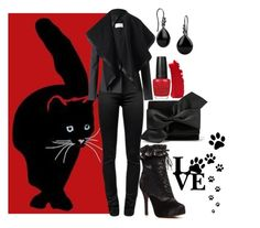 """Black Cat"" by dkelley202 ❤ liked on Polyvore featuring T By Alexander Wang, Maison Margiela, Pieces, Victoria Beckham, OPI, Chanel, women's clothing, women's fashion, women and female"