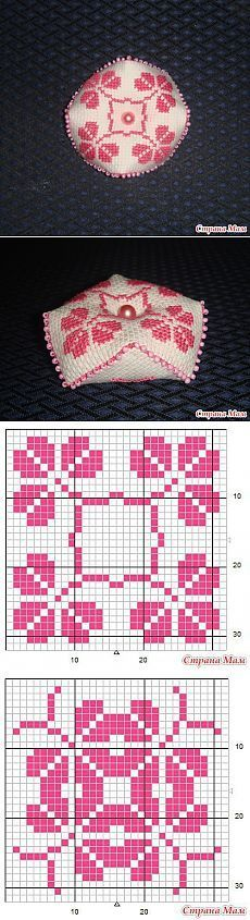 Biskornyu - Biskornyu y otros 'кривульки' - el País de las Mamás // Елена Трояновская Biscornu Cross Stitch, Cross Stitch Needles, Cross Stitch Charts, Cross Stitch Embroidery, Cross Stitch Patterns, Cross Stitch Cushion, Miniature Quilts, Back Stitch, Arm Knitting