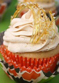 YES!!  WANT PILES OF SPUN SUGAR!!!!!   Triple Salted Caramel Cupcakes - Recipe