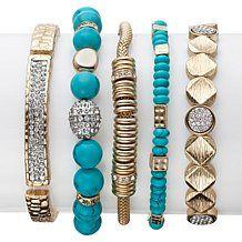R.J. Graziano Gem-Color and Metal Bead 5pc Bracelet Set
