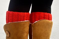 5e39e596d0 ON SALE Knit Boot Cuffs Red. Woman Boot Cuff Sock.Spring Boot Cuffs. Zokni