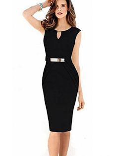 6f067058bb3f Women's Stretch Tunic Pencil Sheath Wear to Work Business Bodycon Dress, Black,L