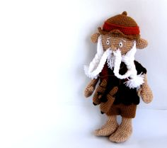 OOAK, crocheted art doll, amigurumi gnome, stuffed fairy figure, collectible human doll, soft sculpture figurine, beige, chocolate brown. $38.00, via Etsy.