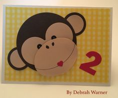 Monkey Birthday Card, Boy Birthday Card, Die Cutting, Card Making, Paper Crafting, Punch Art.