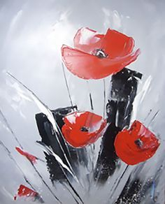 Photo du tableau les coquelicots Acrylic Painting Flowers, Easy Canvas Painting, Simple Acrylic Paintings, Abstract Flowers, Abstract Watercolor, Canvas Wall Art, Abstract Art, Diy Art, Flower Art