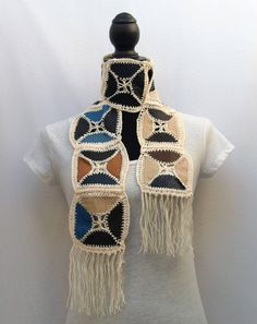 Skinny Leather Scarf/ Belt/ Sash/ Head Wrap- Crocheted Patchwork- Reversible by RezahDesignStudio on Etsy