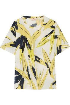 Marni - Sequin-embellished Printed Cotton-jersey T-shirt - Yellow - IT