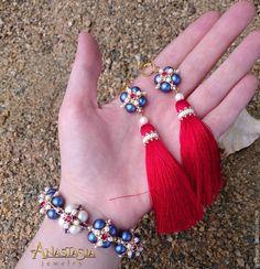 Создаем браслет и серьги-кисти в морском стиле «Пора в круиз» - Ярмарка Мастеров - ручная работа, handmade