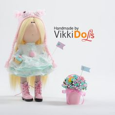 Textile doll-Blond hair-Tiffany Dress-Pink Boots-Pink-Butterfly-Interior doll-Handmade doll-Gift for girl-Decor-Bucket-Little Girl-Art Doll by VikkiDoLis on Etsy