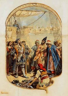 Portuguese Admiral Afonso de Albuquerque receives emissaries from the King of Ormuz on his ship - 1507 Portuguese Empire, Age Of Discovery, Iran, Vintage World Maps, Ship, King, Antiques, Painting, Etchings