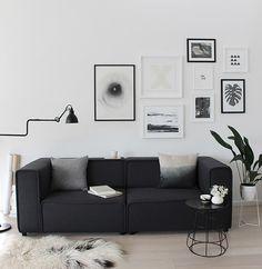 Sala decorada com sofá preto ~ Decoração e Ideias