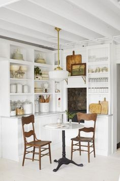 Liz Marie Galvan House Tour This corner is the coziest and full of interesting organized vintage treasures! Kitchen Nook, New Kitchen, Kitchen Dining, Kitchen Decor, Kitchen Ideas, Basement Kitchen, French Kitchen, Kitchen Trends, Kitchen Inspiration
