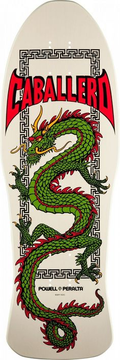 Powell Peralta Caballero Chinese Dragon Skateboard Deck Bone - 10 x 30