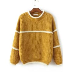 Yellow Contrast Trim Crew Neck Sweater (310 SEK) ❤ liked on Polyvore featuring tops, sweaters, crew top, crew-neck tops, crew sweater, crew neck sweaters and brown crew neck sweater