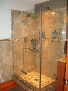river stone shower floor and accent | Build that ...