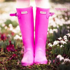 Pink rainboots.