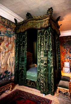 Hardwick Hall, Derbyshire, UK. Might be the only bed I've seen more dramatic than mine.