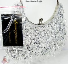 DMargeaux Purse Bead Sequin Crystal Wedding Prom Formal Bag White Silver   eBay