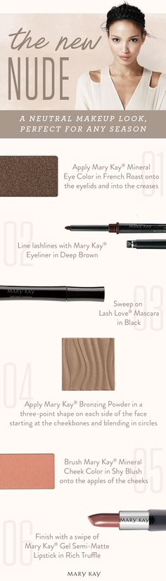 Pin for later! A neutral makeup look is truly timeless and always on trend. Get the New Nude look with these classic Mary Kay products!