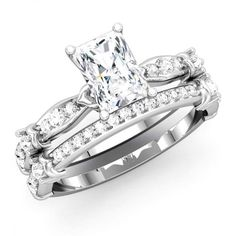 Antique with comfort fit Bridal Ring!! - http://www.mybridalring.com/Rings/radiant-shape-semi-mount-with-matching-diamond-band/