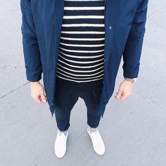 blues // menswear, mens style, fashion, street style, blue, navy, breton stripes, sneakers, nautical, preppy, scandinavian, copenhagen