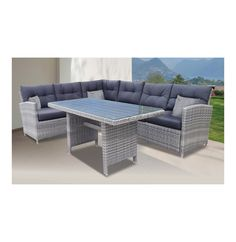 TERRACE LEISURE Provence Casual Dining Combo Set Grey - Lowest Prices & Specials Online | Makro Outdoor Sectional, Sectional Sofa, Outdoor Furniture, Outdoor Decor, Provence, Terrace, Patio, Dining, Grey
