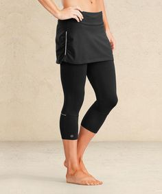 Another great find on #zulily! Black Contender 2 in 1 Skirt Capri - Women by Athleta #zulilyfinds