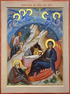 Nativity by Anton & Ekaterina Daineko Religious Images, Religious Icons, Religious Art, Byzantine Icons, Byzantine Art, Church Icon, Jesus Christus, Russian Icons, Religious Paintings
