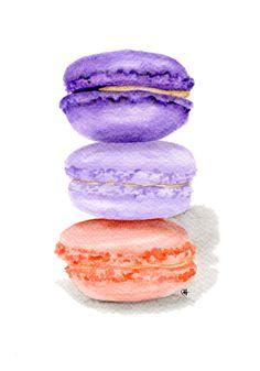 ORIGINAL Painting - Macarons (Food Watercolors Wall Art, Still Life) A5