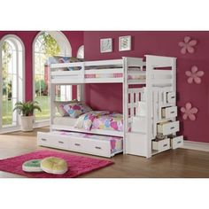 Allentown White Pinewood Twin-over-twin Bunk Bed With Storage Ladder and Trundle | Overstock.com Shopping - The Best Deals on Kids' Beds