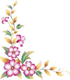 30 Water Slide Nail Decals Floral Pink And White Flowers One Stroke Painting, Tole Painting, Fabric Painting, Boarder Designs, Page Borders Design, Borders For Paper, Borders And Frames, Motif Floral, Floral Border