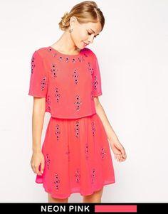 ASOS Fluro Crop Top Embellished Skater Dress