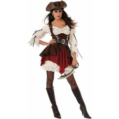 Women's Pirate Penny Costume ($47) ❤ liked on Polyvore featuring costumes, halloween costumes, white costumes, women's halloween costumes, womens snow white costume, ladies costumes and lady costumes