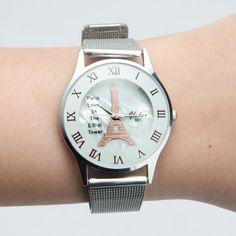Fashion Men Women Stainless Steel Tower Roman Numerals Quartz Analog Wrist Watch