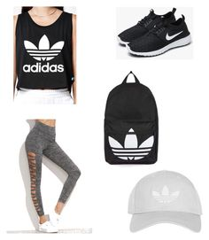"""""""Gym Outfit"""" by claugonzalez ❤ liked on Polyvore featuring adidas, NIKE and Topshop"""