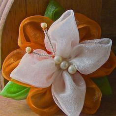 Flor de Organza com uma Borboleta Passo a Passo