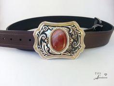 Western belt buckle women carnelian agate pearl by EyesofAnastasia