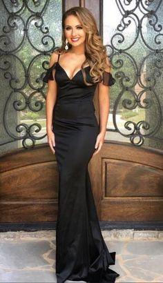 Black V Neck Mermaid Satin Prom Dresses Off #prom #promdress #dress #eveningdress #evening #fashion #love #shopping #art #dress #women #mermaid #SEXY #SexyGirl #PromDresses