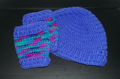 Periwinkle Blue Fingerless Gloves & Beanie by ICreateAndCollect